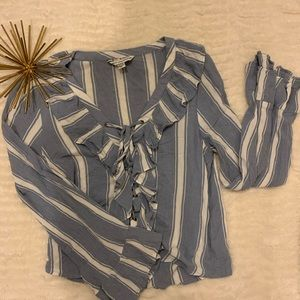 Like New American Eagle Blue / White Blouse Small